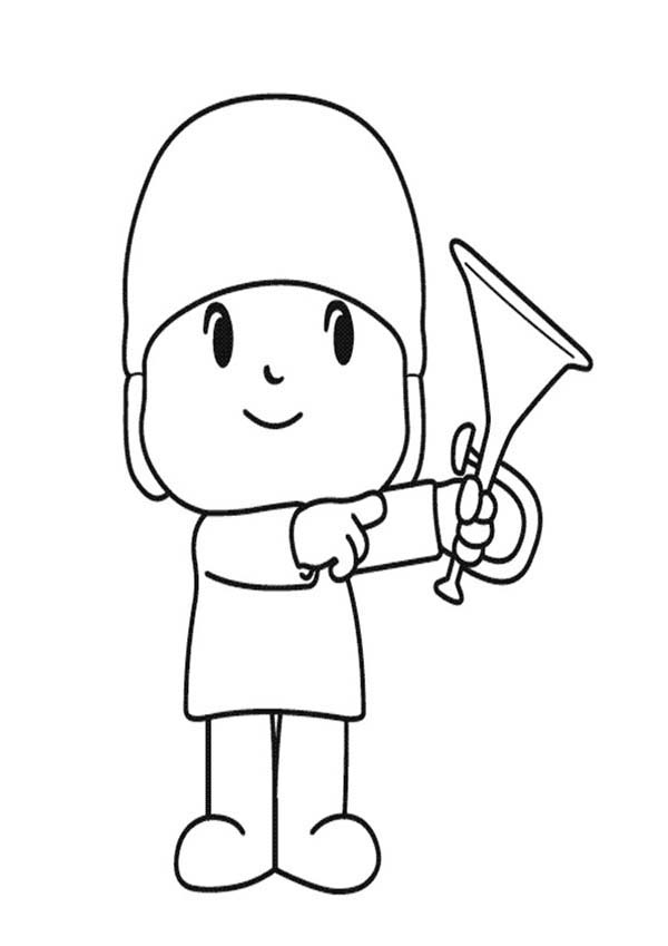 Pocoyo, : Pocoyo Pointing at Trumpet Coloring Page