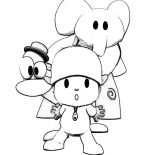 Pocoyo, Pocoyo Posing With Friends Coloring Page: Pocoyo Posing with Friends Coloring Page