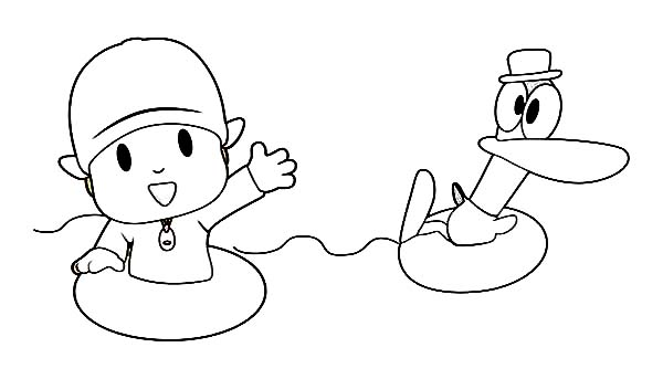 Pocoyo, : Pocoyo Swimming with Pato Coloring Page
