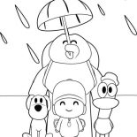 Pocoyo, Pocoyo And Friends Under One Umbrella Coloring Page: Pocoyo and Friends Under One Umbrella Coloring Page