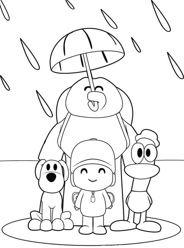 Pocoyo, : Pocoyo and Friends Under One Umbrella Coloring Page