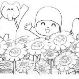 Pocoyo, Pocoyo And Friends At Sunflower Garden Coloring Page: Pocoyo and Friends at Sunflower Garden Coloring Page