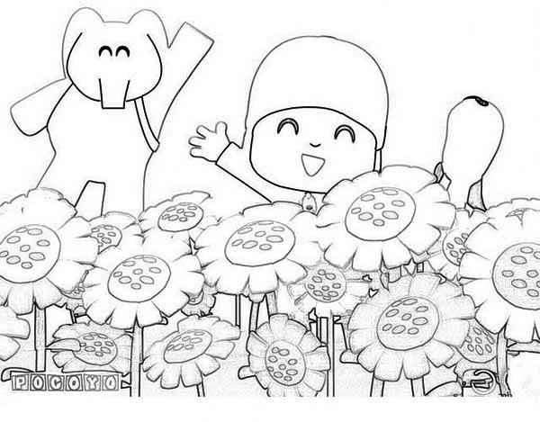 Pocoyo And Friends At Sunflower Garden Coloring Page : Color ...