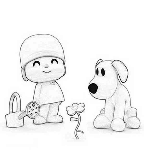 Pocoyo, : Pocoyo and Loula is Planting a Flower Coloring Page