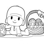 Pocoyo, Pocoyo And A Basket Of Easter Eggs Coloring Page: Pocoyo and a Basket of Easter Eggs Coloring Page