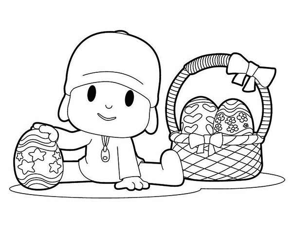 Pocoyo, : Pocoyo and a Basket of Easter Eggs Coloring Page