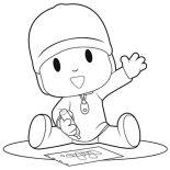 Pocoyo, Pocoyo Is Drawing With Crayon Coloring Page: Pocoyo is Drawing with Crayon Coloring Page