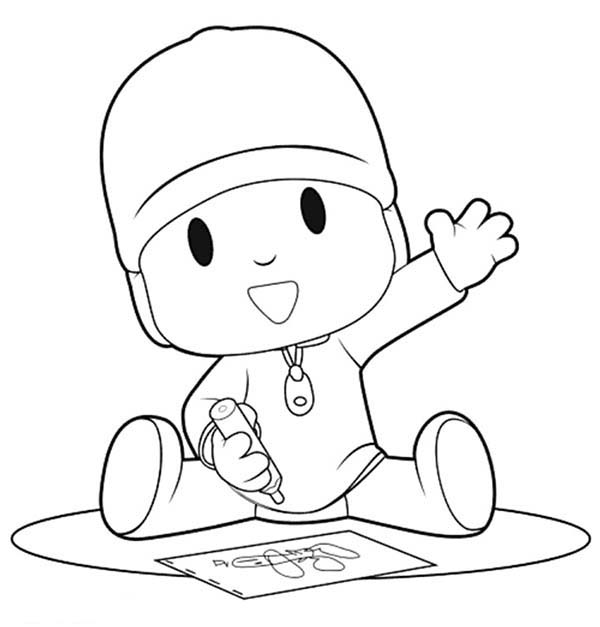 Pocoyo, : Pocoyo is Drawing with Crayon Coloring Page