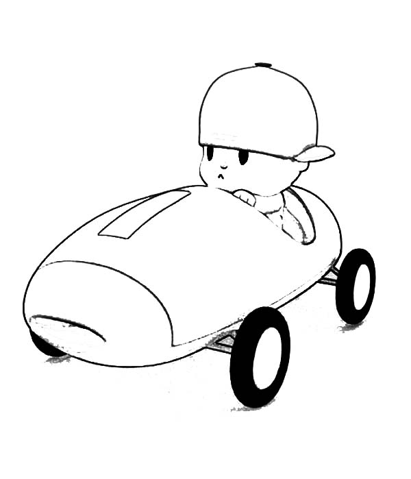Pocoyo, : Pocoyo is a Car Racer Coloring Page