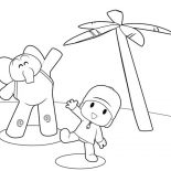 Pocoyo, Pocoyo Is In Vacation With Elly Coloring Page: Pocoyo is in Vacation with Elly Coloring Page