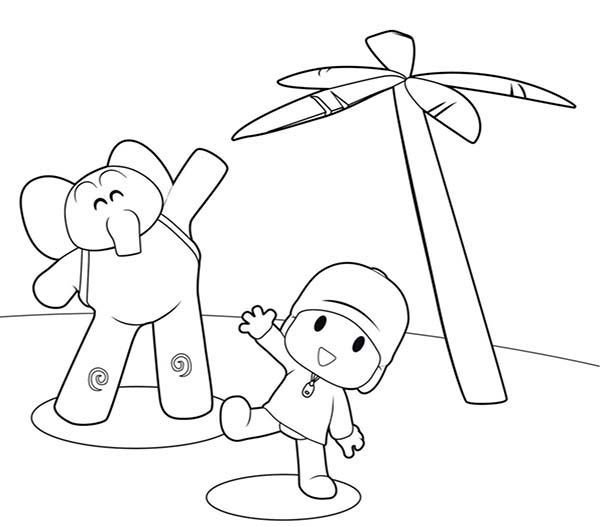 Pocoyo, : Pocoyo is in Vacation with Elly Coloring Page