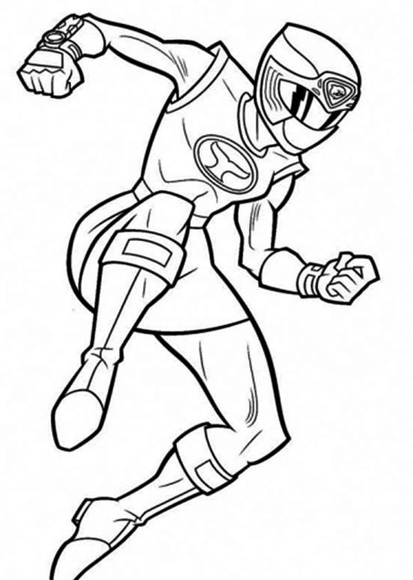 Power Rangers, : Power Ranger Pink is Jumping Coloring Page