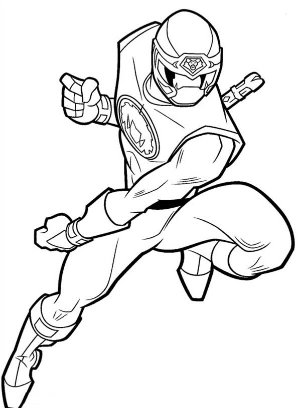 Power Rangers Ninja Storm Chasing Enemy Coloring Page