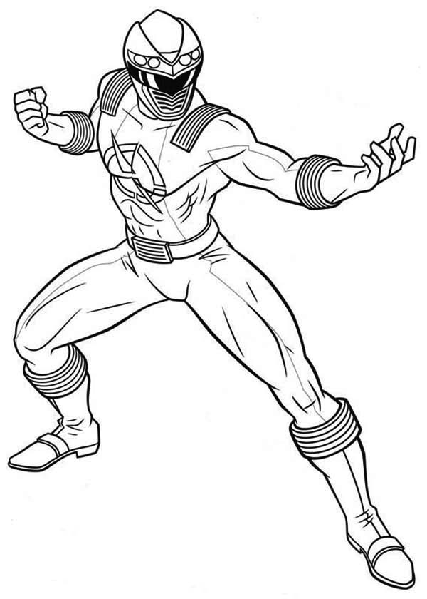 Power Rangers, : Power Rangers Ninja Storm Fighting Pose Coloring Page