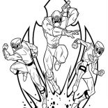 Power Rangers, Power Rangers Ninja Storm In Action Coloring Page: Power Rangers Ninja Storm in Action Coloring Page