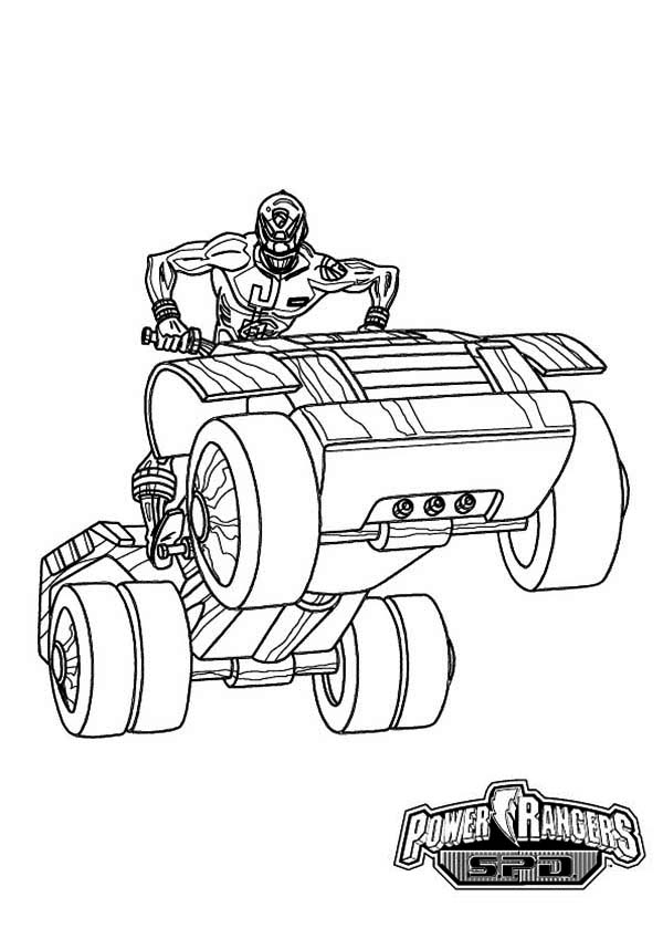 Power Rangers, : Power Rangers SPD Ride an ATV Coloring Page for Kids