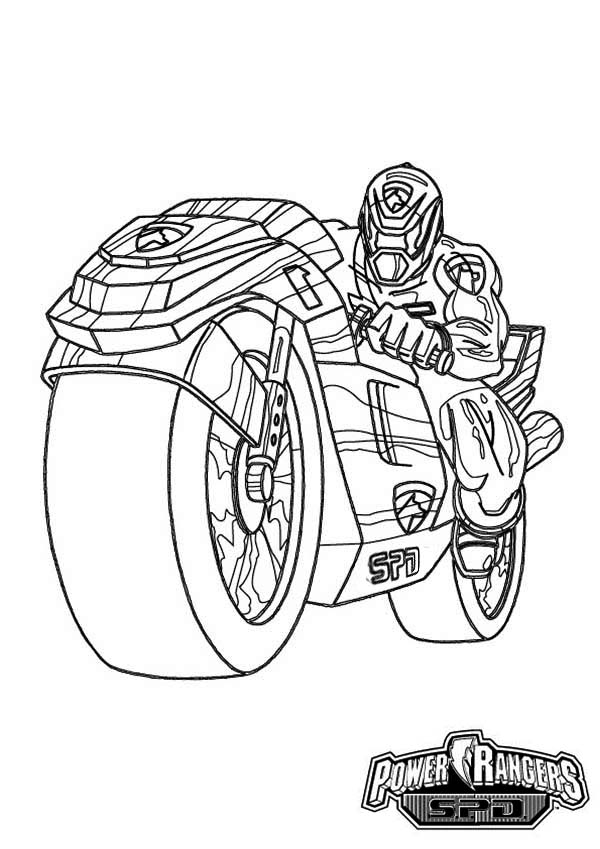Power Rangers, : Power Rangers SPD on Super Cool Motorcycle Coloring Page
