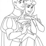 Sleeping Beauty, Prince Phillip Hug Princess Aurora In Sleeping Beauty Coloring Page: Prince Phillip Hug Princess Aurora in Sleeping Beauty Coloring Page