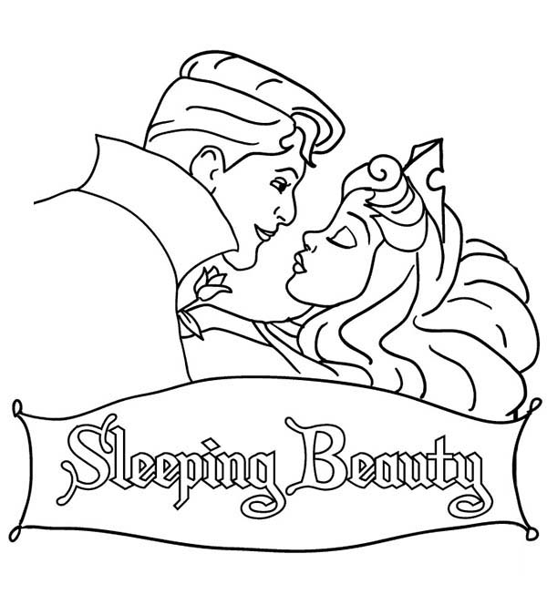 Sleeping Beauty, : Prince Phillip is Going to Kiss Princess Aurora in Sleeping Beauty Coloring Page