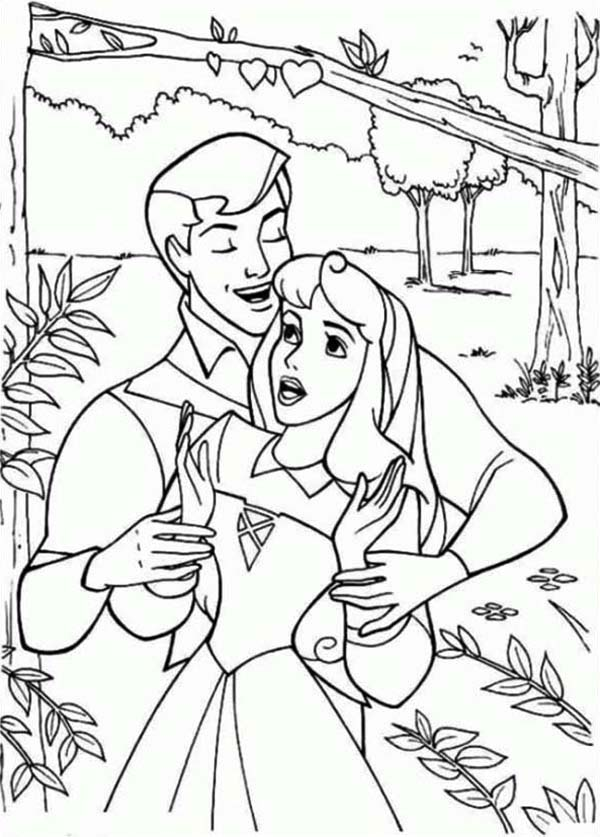 Sleeping Beauty, : Princess Aurora Meet Prince Phillip in the Jungle in Sleeping Beauty Coloring Page