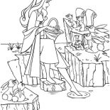Sleeping Beauty, Princess Aurora Put Her Feet In Water In Sleeping Beauty Coloring Page: Princess Aurora Put Her Feet in Water in Sleeping Beauty Coloring Page
