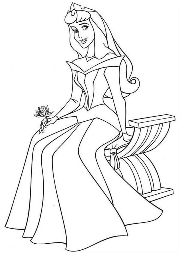 Princess Aurora Sitting On Bench In Sleeping Beauty