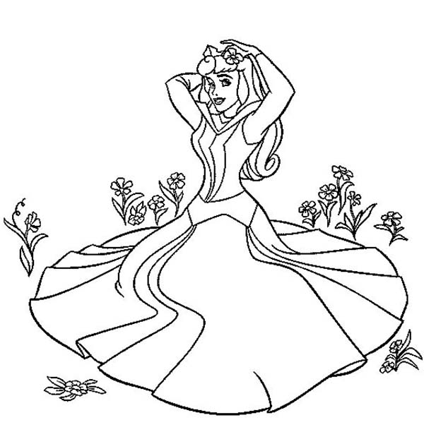 Sleeping Beauty, : Princess Aurora Sitting on the Grass in Sleeping Beauty Coloring Page