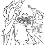 Sleeping Beauty, Princess Aurora Talking To Rabbit In Sleeping Beauty Coloring Page: Princess Aurora Talking to Rabbit in Sleeping Beauty Coloring Page
