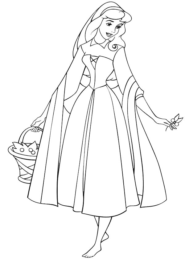 Sleeping Beauty, : Princess Aurora Wander Around in Sleeping Beauty Coloring Page