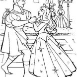 Sleeping Beauty, Princess Aurora Wedding Dance With Prince Phillip In Sleeping Beauty Coloring Page: Princess Aurora Wedding Dance with Prince Phillip in Sleeping Beauty Coloring Page