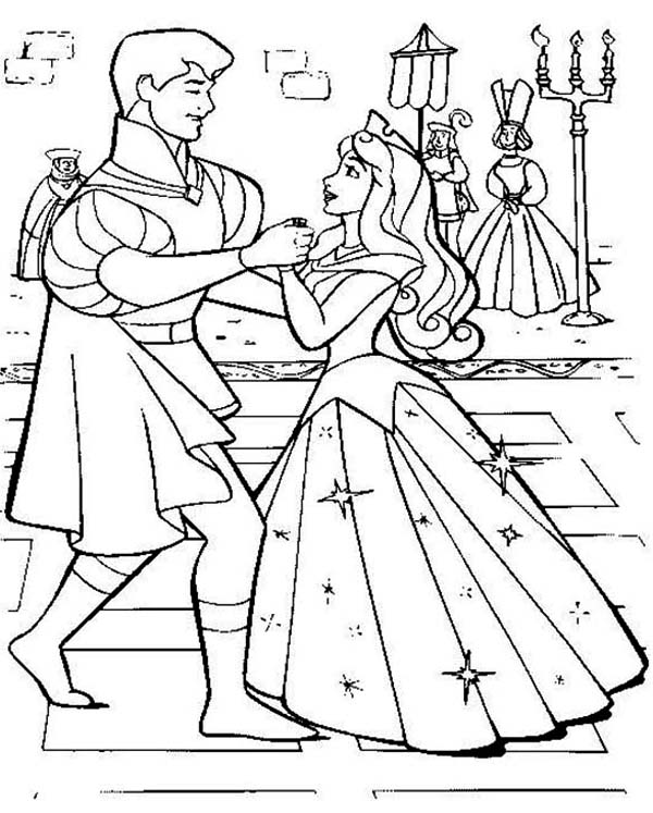 Sleeping Beauty, : Princess Aurora Wedding Dance with Prince Phillip in Sleeping Beauty Coloring Page