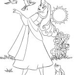 Sleeping Beauty, Princess Aurora And Her Friends In Sleeping Beauty Coloring Page: Princess Aurora and Her Friends in Sleeping Beauty Coloring Page