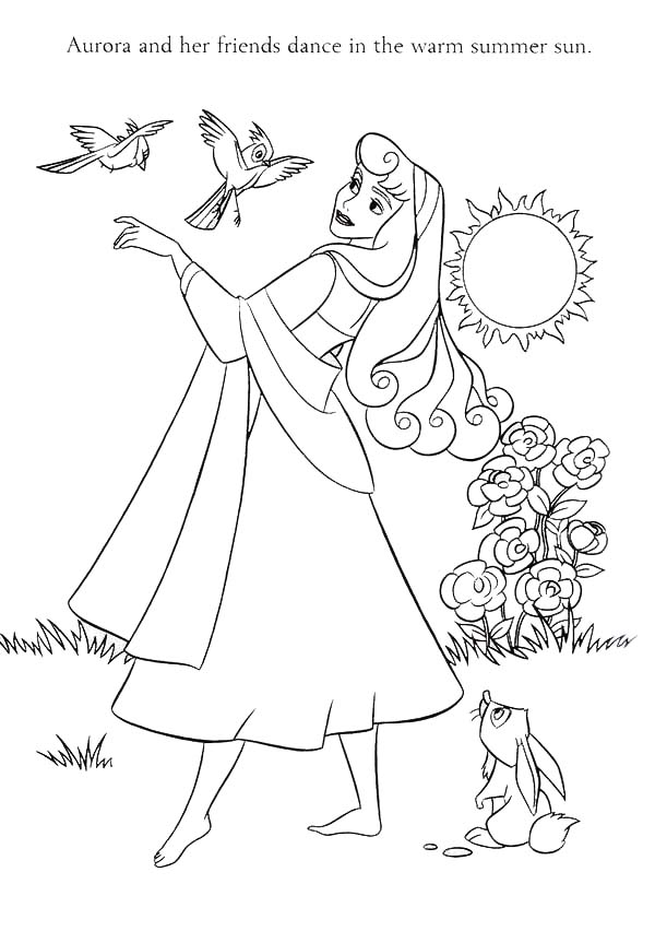 Sleeping Beauty, : Princess Aurora and Her Friends in Sleeping Beauty Coloring Page