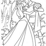 Sleeping Beauty, Princess Aurora And Prince Phillip Dance In The Forest In Sleeping Beauty Coloring Page: Princess Aurora and Prince Phillip Dance in the Forest in Sleeping Beauty Coloring Page