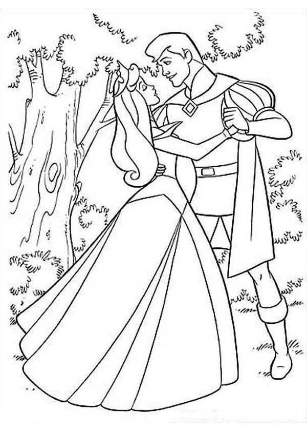 Sleeping Beauty, : Princess Aurora and Prince Phillip Dance in the Forest in Sleeping Beauty Coloring Page
