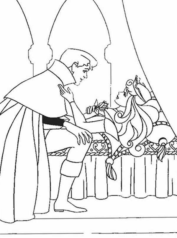 Sleeping Beauty, : Princess Aurora is Happy Prince Phillip Save Her in Sleeping Beauty Coloring Page
