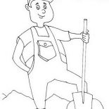 Labor Day, Proud Farmer In Labor Day Coloring Page: Proud Farmer in Labor Day Coloring Page