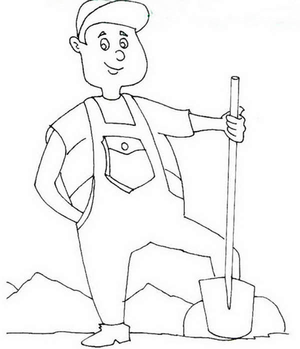 Labor Day, : Proud Farmer in Labor Day Coloring Page