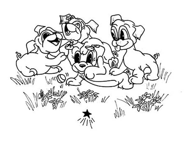 Pug, : Pug and Friends Coloring Page