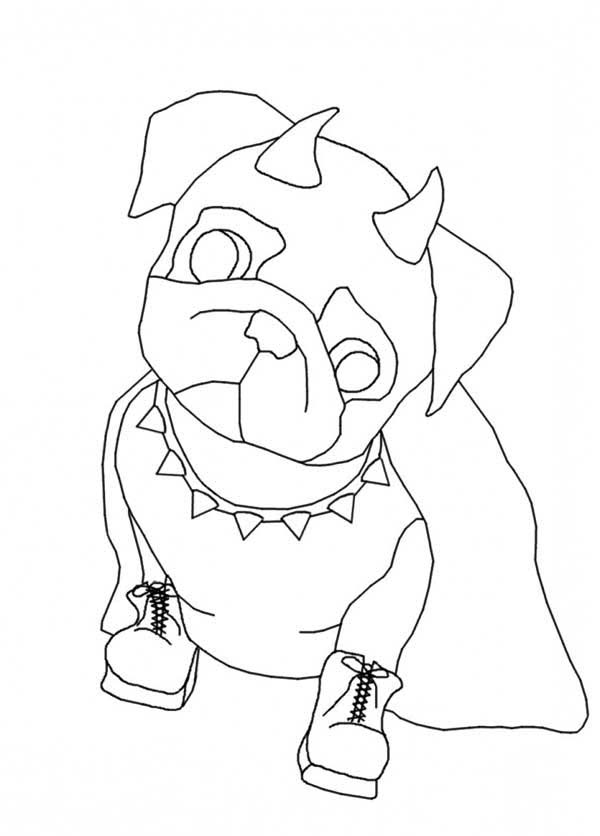 Pug, : Pug the Devil Dog Put on Shoes Coloring Page