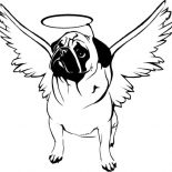 Pug, Pug With Hallo On His Head Coloring Page: Pug with Hallo on His Head Coloring Page