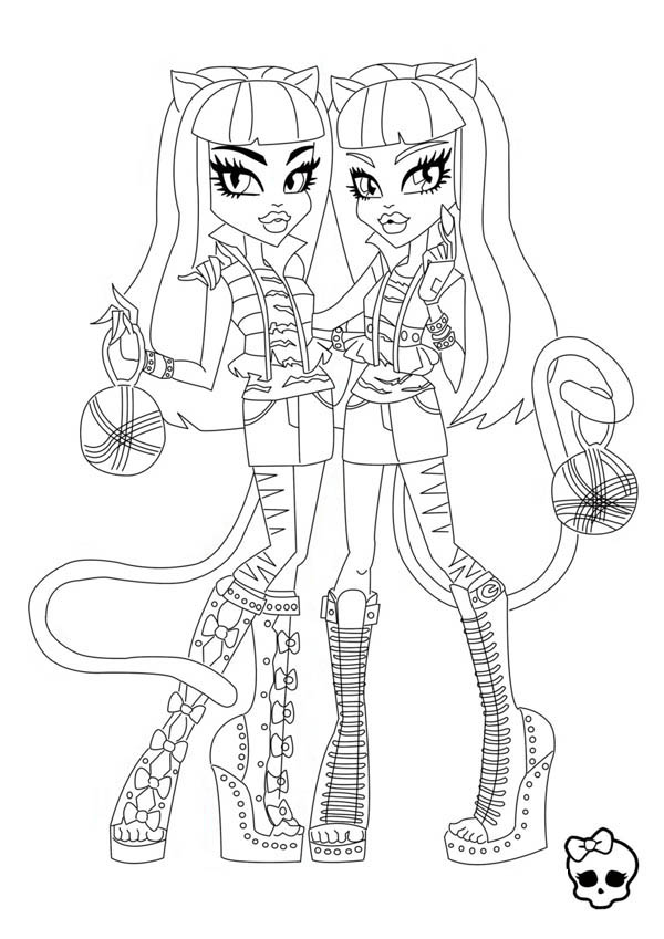 Monster High, : Purrsephone and Meowlody from Monster High Coloring Page