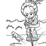 Rainbow Brite, Rainbow Brite Jumping With Frog Coloring Page: Rainbow Brite Jumping with Frog Coloring Page