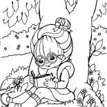Rainbow Brite, Rainbow Brite Reading Book Under Tree Coloring Page: Rainbow Brite Reading Book Under Tree Coloring Page