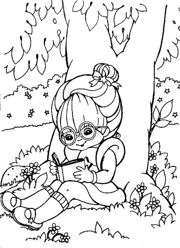 Rainbow Brite, : Rainbow Brite Reading Book Under Tree Coloring Page