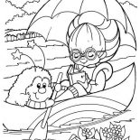Rainbow Brite, Rainbow Brite Reading Book On Canoe With Twink Coloring Page: Rainbow Brite Reading Book on Canoe with Twink Coloring Page
