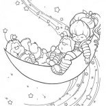 Rainbow Brite, Rainbow Brite Twink Romeo And OJ Sleep On Half Moon Coloring Page: Rainbow Brite Twink Romeo and OJ Sleep on Half Moon Coloring Page