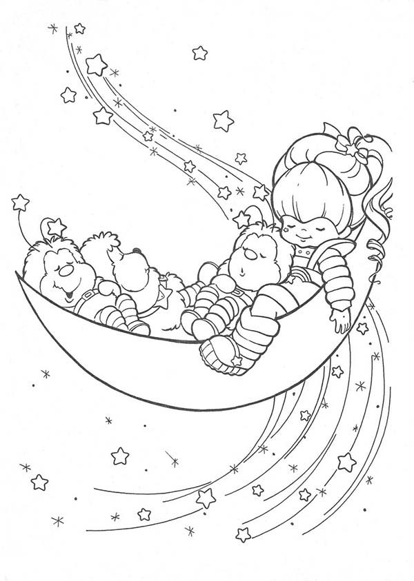 Rainbow Brite, : Rainbow Brite Twink Romeo and OJ Sleep on Half Moon Coloring Page