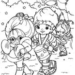 Rainbow Brite, Rainbow Brite And Red Butler And Green Grange Doing Parade Coloring Page: Rainbow Brite and Red Butler and Green Grange Doing Parade Coloring Page