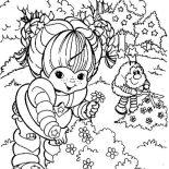 Rainbow Brite, Rainbow Brite And Twink Picking Flower Coloring Page: Rainbow Brite and Twink Picking Flower Coloring Page